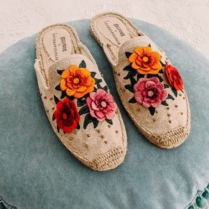 Anthropologie Soludos Floral Espadrille Mules